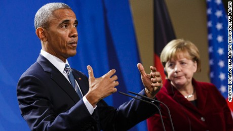 BERLIN, GERMANY - NOVEMBER 17: German Chancellor Angela Merkel and U.S. President Barack Obama attend a press conference at the Chancellery on November 17, 2016 in Berlin, Germany. President Obama is on his last trip to Europe and is scheduled to hold talks with Chancellor Merkel as well as French President Francois Hollande, British Prime Minister Theresa May, Italian Prime Minister Matteo Renzi and Spanish Prime Minister Mariano Rajoy in Berlin tomorrow. (Photo by Carsten Koall/Getty Images)