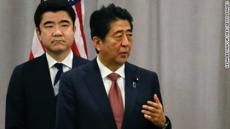Japanese Prime Minister Shinzo Abe speaks during a press conference after a meeting with U.S president elected Donald Trump on November 17, 2016 in New York.  / AFP / KENA BETANCUR        (Photo credit should read KENA BETANCUR/AFP/Getty Images)