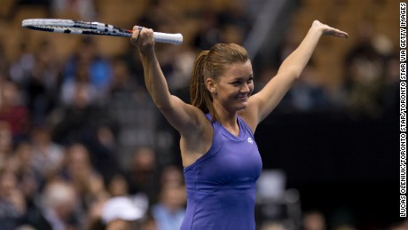 TORONTO, ON - NOVEMBER 16:  Poland's Aga Radwanska played American Serena Williams in an exhibition match Friday night at the ACC in Toronto.  Radwanska won the friendly in straight sets.        (Lucas Oleniuk/Toronto Star via Getty Images)