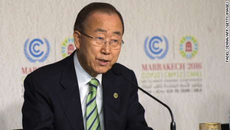 "Ban Ki-moon, the UN Secretary-General, speaks at the UN World Climate Change Conference 2016 in Marrakesh on November 14, 2016. UN chief Ban voiced hope that US President-elect Donald Trump will understand the urgency of climate change and will ""vary"" threats to withdraw the US from the climate-rescue Paris Agreement.    / AFP / FADEL SENNA        (Photo credit should read FADEL SENNA/AFP/Getty Images)"