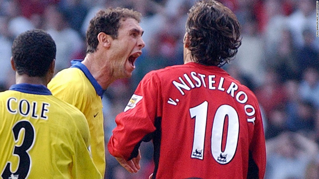 "The Dutchman's missed penalty came in a match now dubbed ""The Battle of Old Trafford."" Keown, who had conceded the spot kick, then confronted Van Nistelrooy. Teammates Lauren, Ray Parlour and Ashley Cole joined in -- and the quartet later received hefty fines from the FA."