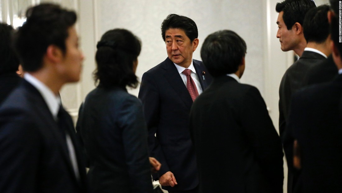 "Japanese Prime Minister Shinzo Abe arrives to a news conference in New York <a href=""http://www.cnn.com/2016/11/16/politics/japan-abe-trump-visit/index.html"" target=""_blank"">after meeting with Trump</a> on Thursday, November 17. Abe said he had a ""very candid discussion"" with Trump, but he declined to explain in detail because Trump has not yet assumed the presidency. He stressed, however, that he felt the two countries could maintain ""a relationship of trust."" (The Japanese government released several photos of Trump and Abe. CNN is not publishing or airing the photos because news organizations were denied access to the meeting.)"