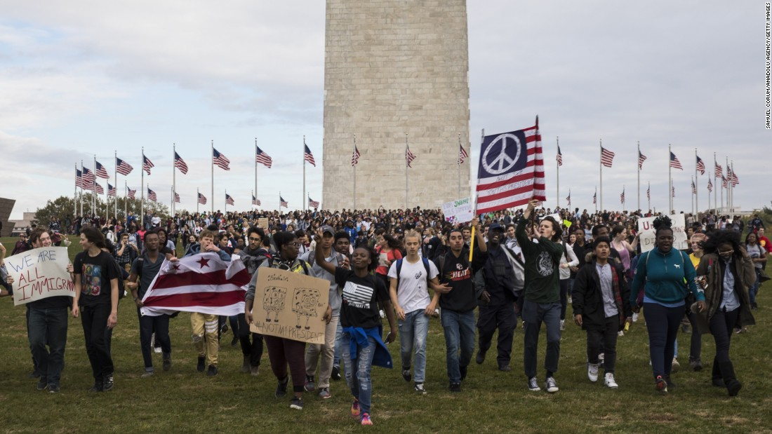 """Thousands of high school students gather around the Washington Monument to protest Trump on Tuesday, November 15. <a href=""""http://www.cnn.com/2016/11/09/us/gallery/trump-protest-across-america/index.html"""" target=""""_blank"""">At least 25 US cities have seen protests</a> since Trump won the election."""