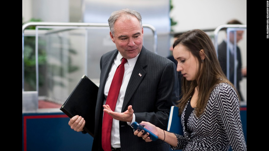 """US Sen. Tim Kaine, Hillary Clinton's running mate in the presidential election, arrives at the Capitol for a Senate Democrats policy lunch on Wednesday, November 16. Kaine told the Richmond Times-Dispatch he would be running for re-election in 2018, but <a href=""""http://www.cnn.com/2016/11/17/politics/tim-kaine-white-house-2020-run/"""" target=""""_blank"""">he ruled out a 2020 presidential run.</a>"""