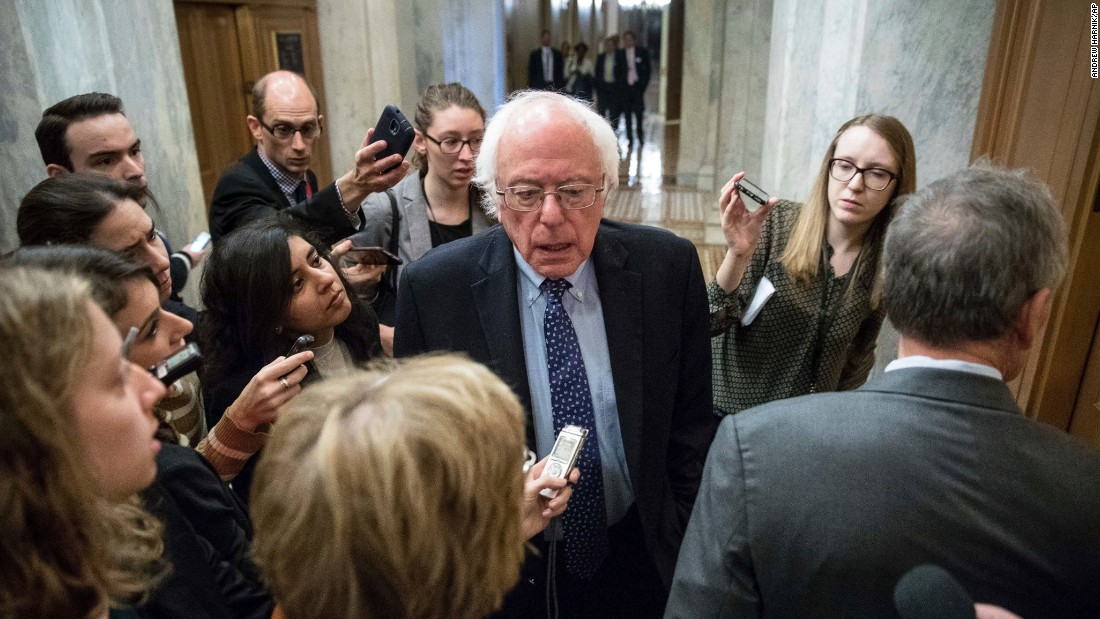"US Sen. Bernie Sanders, a former presidential candidate, speaks to reporters on Capitol Hill on Wednesday, November 16. Sanders <a href=""http://www.cnn.com/2016/11/17/politics/bernie-sanders-donald-trump-allies/"" target=""_blank"">has said he is willing to work with the President-elect</a> if Trump makes good on his promise to be an economic populist challenging corporate America. But critical differences remain."