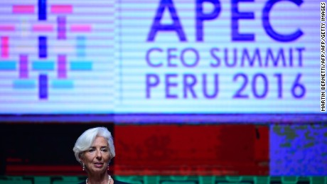 IMF Managing Director Christine Lagarde gestures as she speaks during a session of the APEC CEO Summit, part of the broader Asia-Pacific Economic Cooperation (APEC) Summit in Lima on November 18, 2016. Asia-Pacific leaders were urged on November 18 to defend free trade from rising protectionism after the election victory of Donald Trump stoked fears that years of tearing down barriers to global commerce could be reversed.  / AFP / Martin BERNETTI        (Photo credit should read MARTIN BERNETTI/AFP/Getty Images)