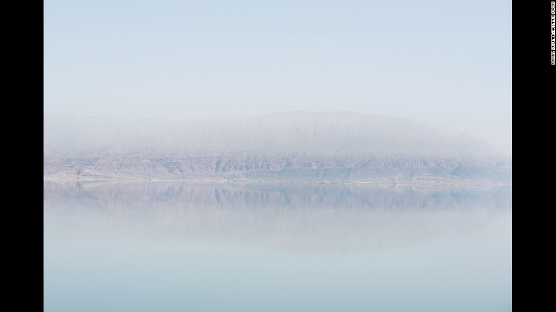 The Jordanian coast is seen from the Israeli side of the Dead Sea.