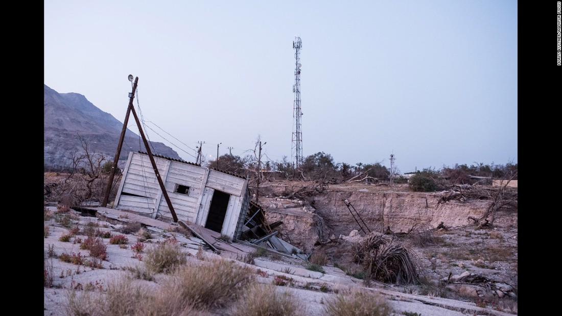 Overnight, a sinkhole destroyed this camping space in Israel. Thousands of sinkholes have emerged on the Israeli side of the Dead Sea since the 1990s, Küstner said.