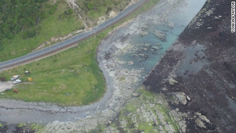 Aerial photographs show the seabed uplift north of Kaikoura