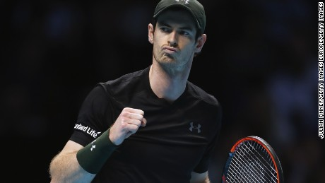 Andy Murray celebrates during Friday's win over Stan Wawrinka at London's O2 Arena.