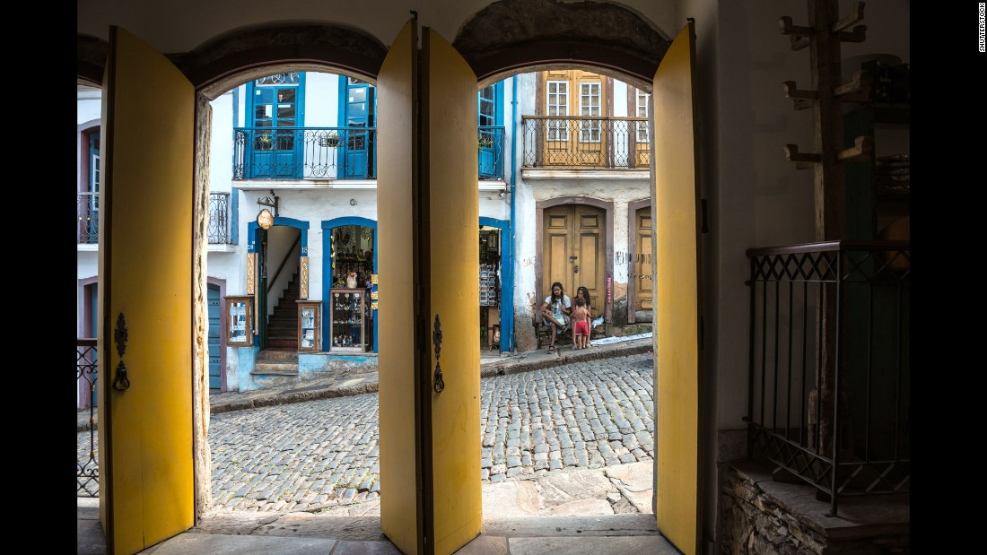 "A rainbow of colorful trim enlivens the streets of the UNESCO World Heritage-designated old town of Ouro Preto (""Black Gold""). The town, founded at the end of the 17th century, was at the center of the gold rush."