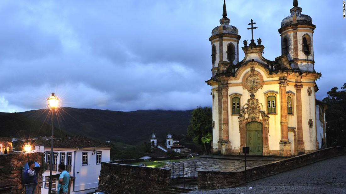 The rococo church of Sao Francisco de Assis in Ouro Preto features carving by celebrated Brazilian architect and sculptor Antônio Francisco Lisboa, known as Aleijadinho. Construction began in 1766.
