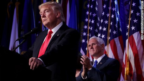NEW YORK, NY - NOVEMBER 09:  Republican president-elect Donald Trump delivers his acceptance speech as Vice president-elect Mike Pence looks on during his election night event at the New York Hilton Midtown in the early morning hours of November 9, 2016 in New York City. Donald Trump defeated Democratic presidential nominee Hillary Clinton to become the 45th president of the United States.  (Photo by Chip Somodevilla/Getty Images)