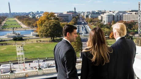 WASHINGTON, D.C. - NOVEMBER 10: House Speaker Paul Ryan (R-WI) shows President-elect Donald Trump and his wife, Melania Trump the Speaker's Balcony at the U.S. Capitol on November 10, 2016 in Washington, DC. Earlier in the day president-elect Trump met with U.S. President Barack Obama at the White House. (Photo by Zach Gibson/Getty Images)