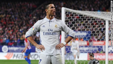 Cristiano Ronaldo celebrates scoring his hat-trick goal in the last Madrid Derby at the Vicente Calderon.