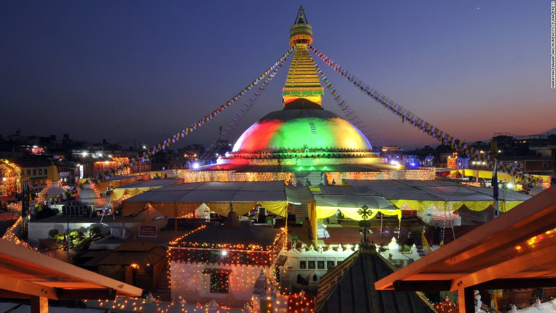 A purification ritual gets underway at the newly reconstructed Boudhanath stupa in Kathmandu. The iconic Buddhist temple was partially destroyed in a series of earthquakes that rocked Nepal last year.<br />