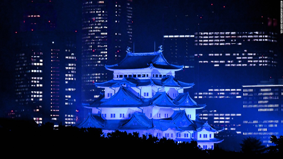 Nagoya Castle in Japan is illuminated in blue to mark World Diabetes Day on November 14, 2016.<br />