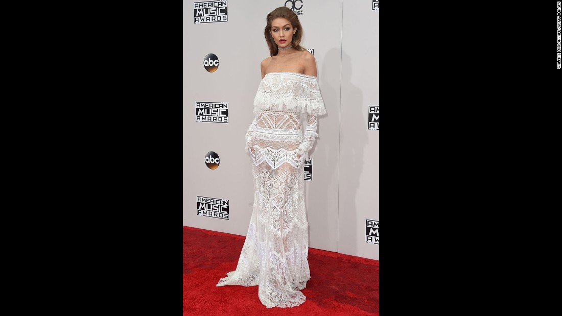 Host Gigi Hadid arrives for the 2016 American Music Awards on Sunday, November 20, in Los Angeles.