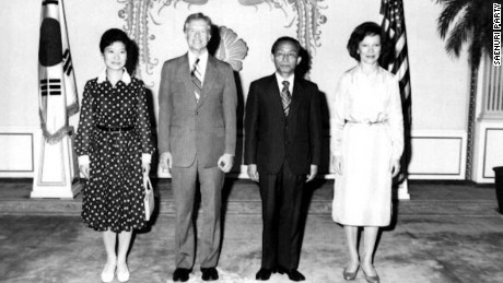 Park was regarded as South Korea's first lady during her father, Park Chung-hee's presidency, after her mother's death in 1974.