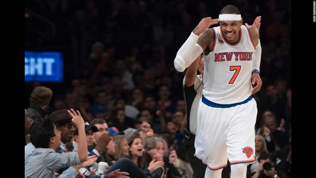 New York forward Carmelo Anthony reacts after hitting a 3-pointer against Atlanta on Sunday, November 20. Anthony scored 31 points as the Knicks won their fourth straight home game.
