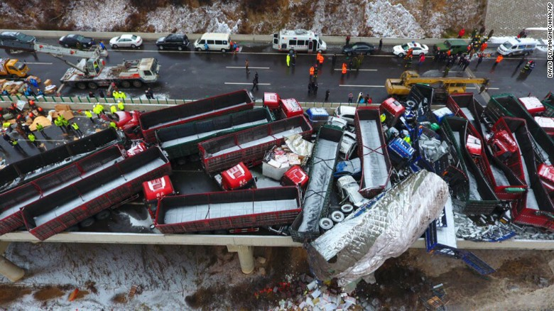 Huge deadly pileup in China