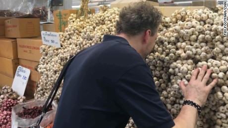 Sven Elverfeld takes in the scents at Bangkok's Or Tor Kor market.