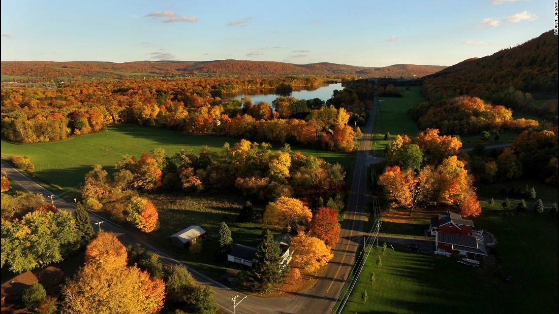Fall colors are on display in Tully, New York, on Wednesday, October 19.