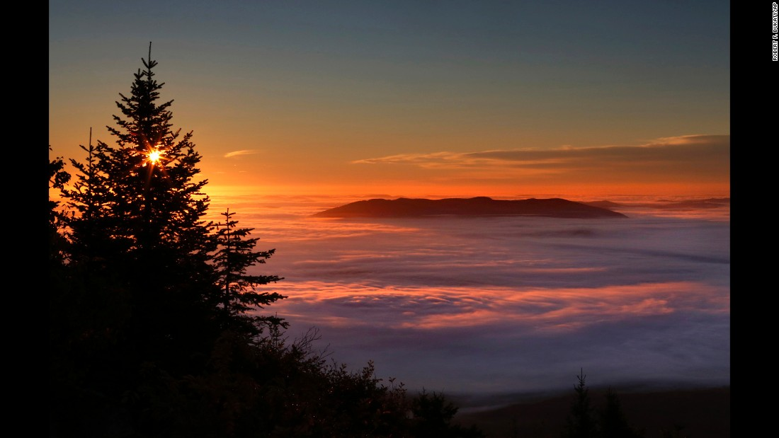 Pleasant Mountain protrudes from a sea of  fog near Bridgton, Maine, on Wednesday, October 5.
