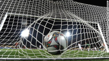 The ball shot by Spanish Cesc Fabregas hits the nets inside the goal during the FIFA Confederations Cup football match New Zealand vs Spain on June 14, 2009 at the Royal Bakofeng Stadium in Rustenburg.   AFP PHOTO / PIERRE-PHILIPPE MARCOU (Photo credit should read PIERRE-PHILIPPE MARCOU/AFP/Getty Images)