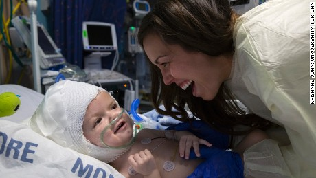 Nicole McDonald laughs with son Anias as he recovers from separation surgery.