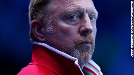 LONDON, ENGLAND - NOVEMBER 15:  Novak Djokovic of Serbia's coach Boris Becker looks on during his men's singles match against Milos Raonic of Canada on day three of the ATP World Tour Finals at O2 Arena on November 15, 2016 in London, England.  (Photo by Julian Finney/Getty Images)