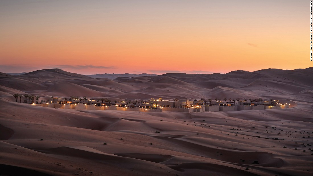 "The isolated <a href=""http://qasralsarab.anantara.com/"" target=""_blank"">Qasr Al Sarab Desert Resort by Anantara</a>, located a two-hour drive from Abu Dhabi city in the Rub'Al Khali desert, is one of Karam's favorite retreats."