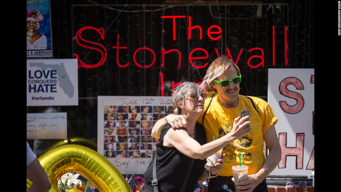 "People in New York take selfies in front of the Stonewall Inn, an iconic symbol of the modern gay rights movement, on Friday, June 24. A few days later, the gay bar was designated as <a href=""http://www.cnn.com/2016/06/24/travel/stonewall-inn-first-lgbt-national-monument/"" target=""_blank"">the country's first national monument to LGBT rights.</a> The riots there in 1969 -- <a href=""http://www.cnn.com/2016/06/16/us/gallery/tbt-first-pride-parades/index.html"" target=""_blank"">and the protests that followed</a> -- were a turning point for LGBT rights in the United States."