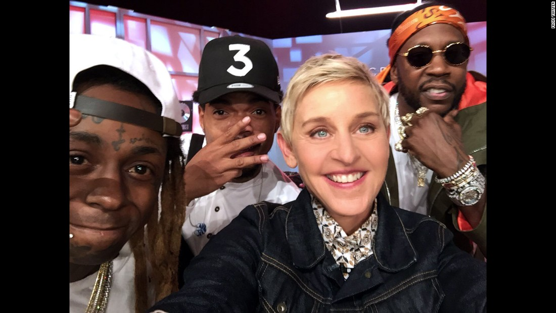 "Talk-show host Ellen DeGeneres <a href=""https://twitter.com/TheEllenShow/status/776560354910318592"" target=""_blank"">tweeted the hashtag ""#SquadGoals""</a> as she took a selfie with, from left, rappers Lil Wayne, Chance the Rapper and 2 Chainz on Thursday, September 15."
