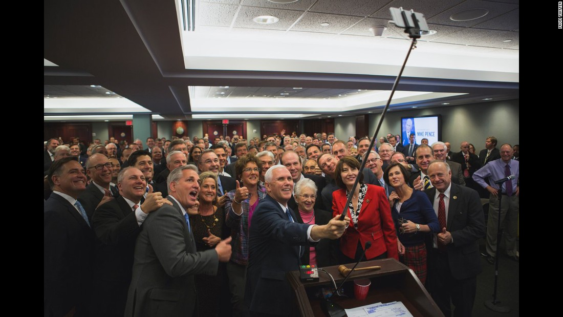 "US Vice President-elect Mike Pence uses a selfie stick for a photo with House Republicans on Thursday, November 17. <a href=""https://twitter.com/HouseGOP/status/799280212441702405"" target=""_blank"">The House GOP tweeted it</a> with the caption ""UNIFIED."""