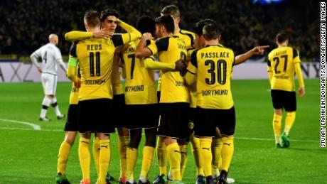 Marco Reus celebrates scoring his teams sixth goal with teammates during the UEFA Champions League Group F match between Borussia Dortmund and Legia Warszawa.