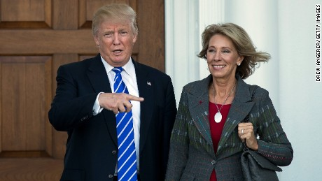 President-elect Donald Trump and Betsy DeVos