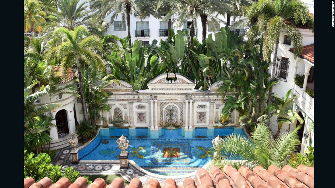 "The house -- which includes this ""Million Mosaic Pool,"" featuring thousands of 24k gold tiles -- was at the center of the beau monde that orbited Versace until his untimely murder on its front steps in 1998. <br /><br />Now in its umpteenth incarnation as a boutique hotel, this popular tourist attraction and Instagram background will be further immortalized when it becomes the <a href=""http://edition.cnn.com/2016/10/18/entertainment/american-crime-story-versace-season-3/"">setting and subject</a> for season three of ""American Crime Story."""