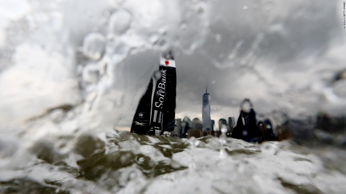 SoftBank Team Japan sails in New York as it competes in an America's Cup World Series race on Saturday, May 7.