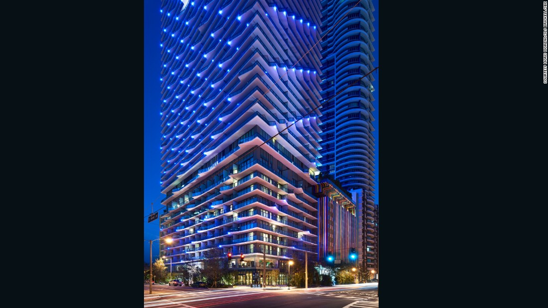 Built by Arquitectonica, one of Miami's most venerable local firms, and sprinkled with contemporary design fairy dust by Philippe Starck, this addition to the Brickell skyline reads from afar like one big Paul Smith shopping bag, with its look-at-me candy-striped facade.