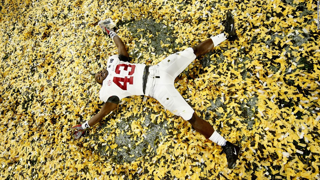 Lawrence Erekosima celebrates in the confetti after Alabama won the championship game of the College Football Playoff on Monday, January 11. Alabama defeated Clemson 45-40 for its fourth national title in seven years.