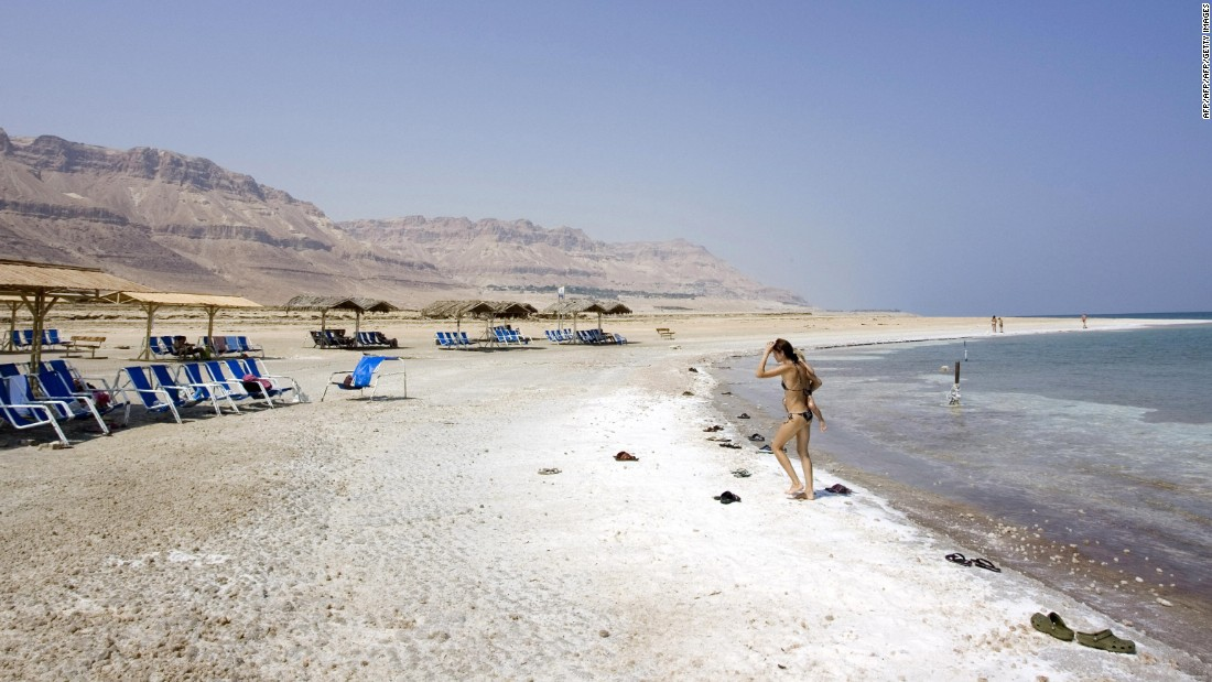 One of the most famous salt lakes in the world, the Dead Sea is a popular tourist site. This shot shows a section of the sea in the Jordan Valley.