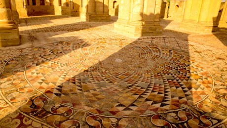 The mosaic can be seen across the ground at Hisham's Palace, Jericho, West Bank.