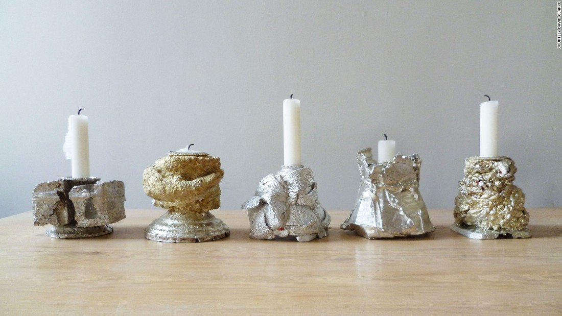 Both designers use reconfigurations of antique metal ware -- silver and pewter domestic objects such as spoons, sugar bowls and teapots -- to create new pieces, such as platters, sculptures or, in this case, candlesticks.