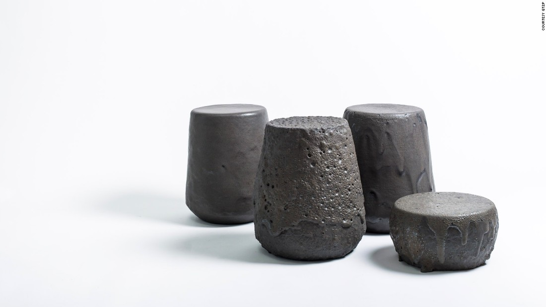 "For their Remolten stool series, Chilean design studio <a href=""http://www.gt2p.com/"" target=""_blank"">gt2P</a> (which stands for ""great things to people"") coated heat-resistant materials porcelain, stoneware and concrete in basaltic andesite -- a porous, lightweight rock found on active volcanic slopes across Chile."