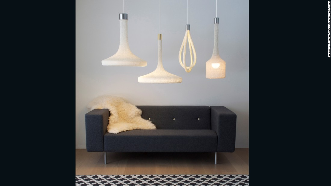 """<a href=""""http://www.mottoform.com/"""" target=""""_blank"""">Salonen</a>'s designs combine hand-knit paper yarn with LEDs to make rounded pendant lamps. Her Loop lamps are an exploration of how traditional crafts -- in this case knitting -- can merge with technology in the creation of functional objects. Each lamp is knitted and crocheted by a local artisan, each with their own distinctive style, meaning no two lamps are the same."""
