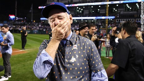 CLEVELAND, OH - NOVEMBER 02:  Actor Bill Murray reacts on the field after the Chicago Cubs defeated the Cleveland Indians 8-7 in Game Seven of the 2016 World Series at Progressive Field on November 2, 2016 in Cleveland, Ohio. The Cubs win their first World Series in 108 years.  (Photo by Ezra Shaw/Getty Images)