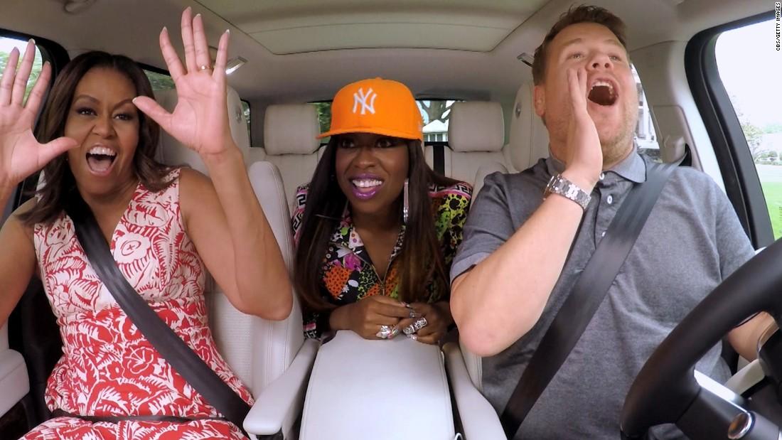 "First lady Michelle Obama joins rapper Missy Elliott and talk-show host James Corden for one of Corden's <a href=""http://www.cnn.com/2016/07/19/politics/michelle-obama-carpool-karaoke-james-corden-beyonc/"" target=""_blank"">""carpool karaoke"" segments</a> in July."