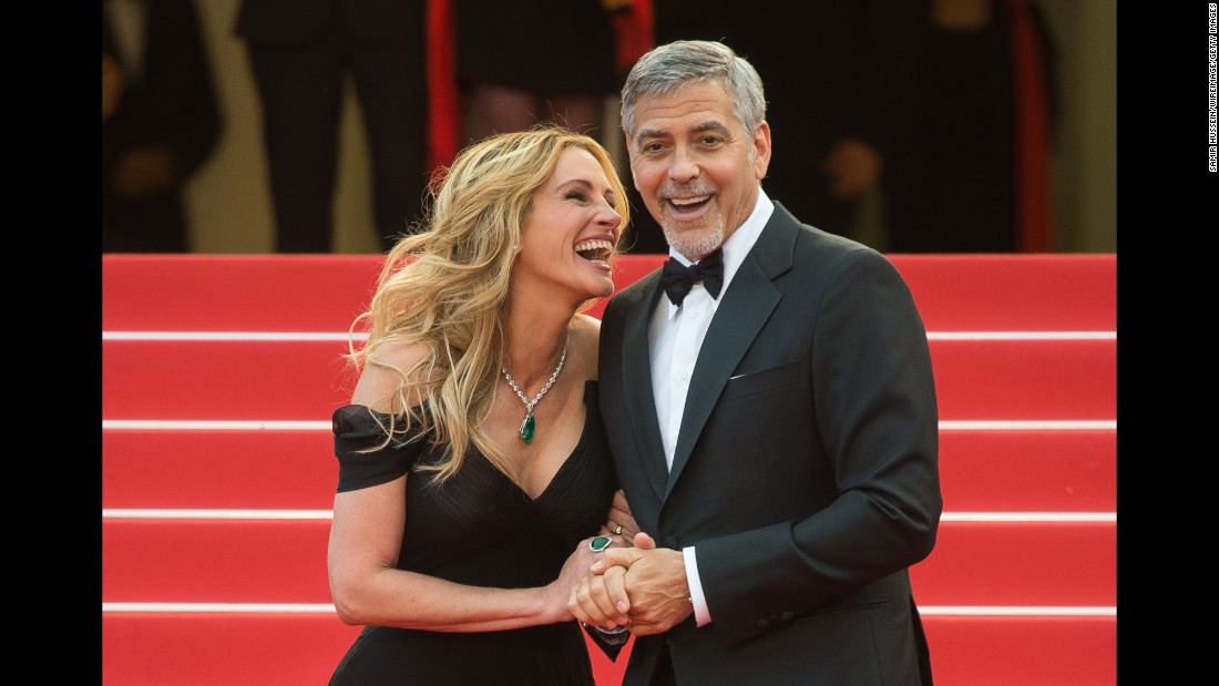 "Actors George Clooney and Julia Roberts attend the ""Money Monster"" screening at the Cannes Film Festival on Thursday, May 12."