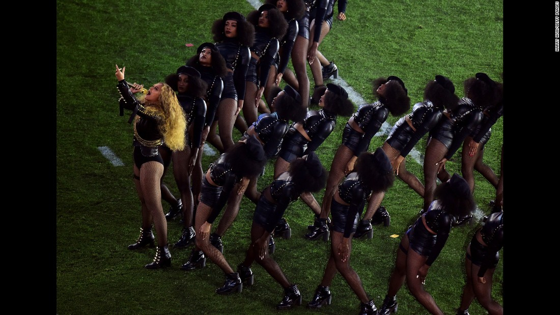 "Beyonce leads a team of dancers as she performs during <a href=""http://www.cnn.com/2016/02/07/entertainment/gallery/super-bowl-halftime-2016/index.html"" target=""_blank"">the Super Bowl 50 halftime show</a> on Sunday, February 7. Her performance -- with dancers in Black Panther-like attire -- <a href=""http://www.cnn.com/2016/02/09/entertainment/beyonce-boycott-super-bowl-feat/"" target=""_blank"">didn't sit well with everyone.</a> Others praised the pop star for <a href=""http://www.cnn.com/2016/02/08/politics/beyonce-super-bowl-black-lives-matter/"" target=""_blank"">the political messages</a> in her new single ""Formation."""